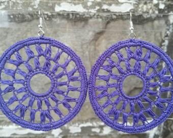 Crochet Earrings- Purple Earrings- Large Diana Crochet Earrings- Purple. Clip-ons upon request.