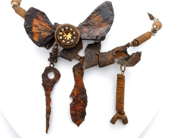 Grasshopper Wing And Czech Glass Button Necklace (Imogean's Eye)
