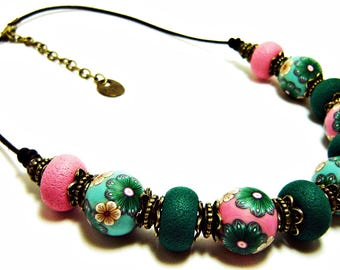 Polymer clay bead necklace: Statement necklace, Polymer clay jewelry, Colorful choker, Polymer clay, Gift woman