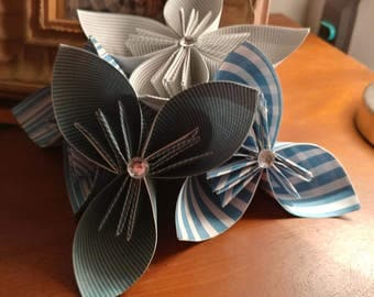 Blue Striped Paper Flowers/Origami Flowers/Party Decorations