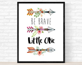Nursery Poster, Be Brave Little One Poster, Framed Poster, Watercolor Arrows, Kids Room Decor, Nursery Decoration, Child's Room Decoration