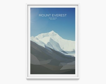 Mount Everest (Mountain Art Print, Mountain Poster / Seven Summits, Nepal, China, Himalayas)