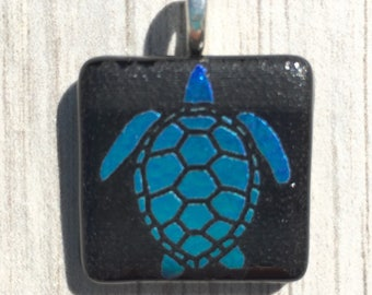Dichroic Fused Glass Pendant - Blue Green Laser Engraved Etched Turtle Pendant