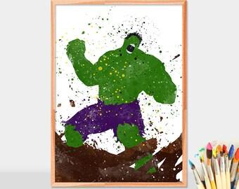 Hulk poster, hulk print, superheroe prints, hulk wall art, marvel superhero, hulk watercolor, avengers, hulk marvel, digital download