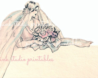 Vintage Bridal Place Card,  Printable image (digital download, printable)