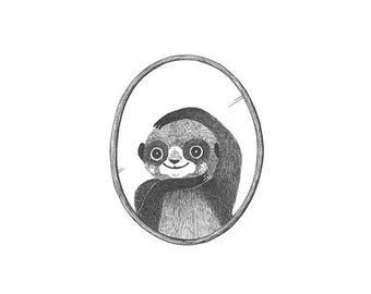 Original Illustration - Portrait Miniature Series - Strike-A-Pose Meerkat - Original Ink Artwork