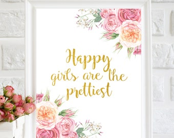 Happy girls are the prettiest printable, Audrey Hepburn quote wall art, Floral Nursery wall art print, Girl nursery wall art, Baby girl Gift