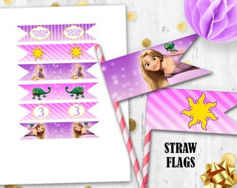 Rapunzel straw flags Cupcake toppers Tangled straw flags toppers