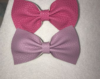 Raspberry and Lavender Faux leather bow