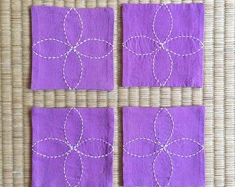 Sashiko Embroidery Coaster!! Set of 4