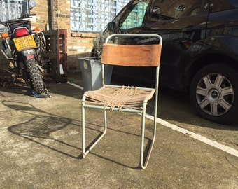 Vintage Woven Back School Chairs