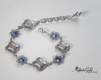 Edwardian Bracelet, Quatrefoil Bracelet, Swarovski Sapphire, Medieval Jewellery, Tudor Jewellery, Gothic Jewellery, Blue Sapphire, Handmade