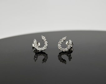 Sterling Silver White Sapphire Horseshoe Stud Earrings