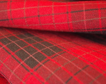 Red and Black Tartan Polyester Fabric