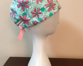 NattyScrubs Teal and Pink Spring Flower Scrub Hat, Surgical Cap, Scrub Cap