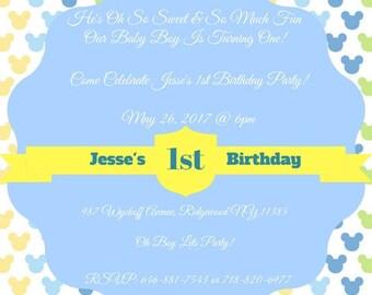 Baby mickey invite etsy disney baby mickey mouse 1st birthday invitation boys birthday invitations personalized digital file customized pronofoot35fo Choice Image