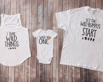 Wild One 3 Shirt Set, I Tame Wild Things, Let the Wild Rumpus Start, Wild ONE- Wild Birthday Shirt, Wild and One Year Old