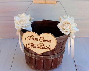 Rustic Flower Girl Basket - Here Comes The Bride - Elegant Barn Wedding - Barn Weddng Ideas - Shabby Chic Wedding - Beach Wedding
