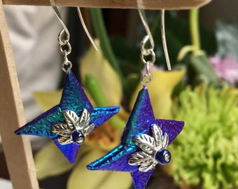 Origami Throwing (Ninja) Star Fishhook Earrings - Aurora color