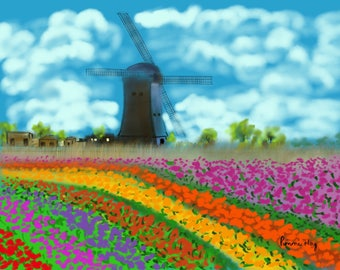 Windmill By the Tulips