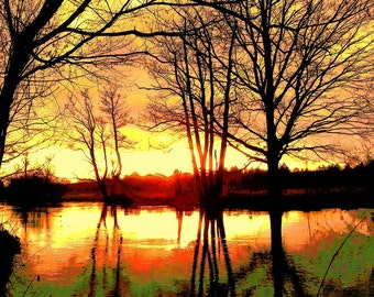 """limited artistic Photography """"sunset at the river"""" by Thomas de Bur Germany 100% cotton canvas gallery photograph certificate"""