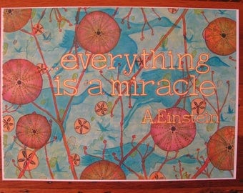 Print of Original Painting with Einstein Quote, Cranes, Sea Urchins, Sand Dollars, Branches, etc.