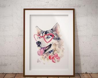 Husky in glasses, nursery decor, husky print, printable art, nursery wall art, dog art print, dog nursery art, digital download, husky, dog
