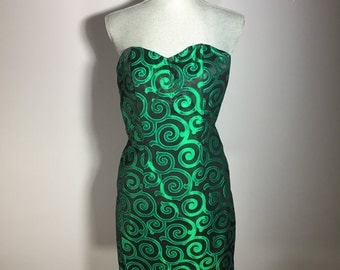 Vintage 1980s Bill Levkoff Black and Green Strapless Bustier Size 5