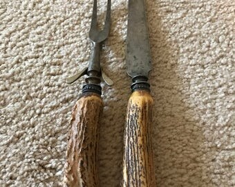 Sterling and Stag Handled Serving Fork and Knife