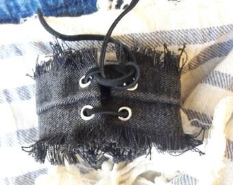 Black Cuff Frayed Bracelet