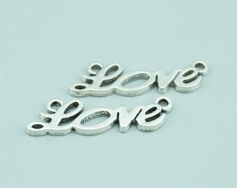 50pcs 34X11mm Antique Silver Love Charm Pendants,Love Connectors,Letter Charms Pendants Connectors Z6730