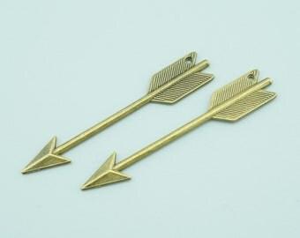 20pcs 62x11mm Antique Bronze Arrow Charm Pendants ZJ002