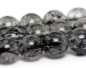 "7MM Genuine Black Rutilated Quartz Grade AAA Natural Gemstone Half Strand Round Loose Beads 7.5"" (100723h-313)"