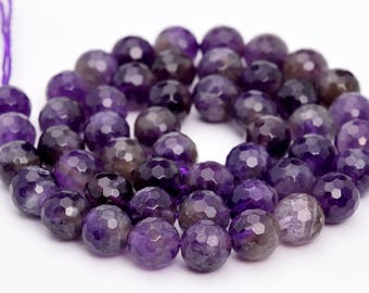 "8MM Faceted Amethyst Natural Gemstone Full Strand Round Loose Beads 15"" (100851-325)"