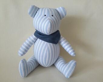 Memory teddy bear, White teddy bear with blue stripes, Soft toy, Baby sleeper, Cuddly Softie Stylish toy, Gift for child, Memory gift