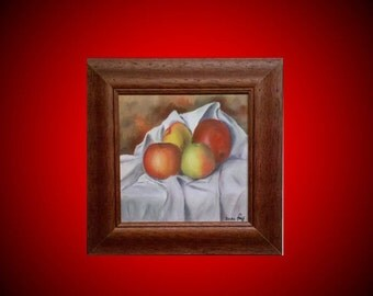 Original oil painting on canvas with frame, fruit, still life, red, orange, colorful, Home Deco, size 20 * 20