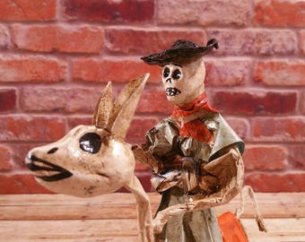 Mexican Folk Art Paper Mache Dead Peasant and Donkey Tim Burton Style