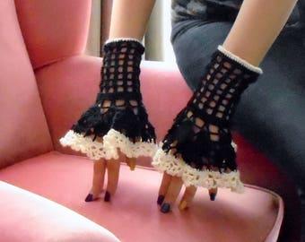 Irish Crochet Black and White Fingerless Gloves- Pair