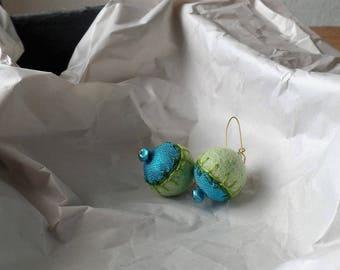 Embroidered felt ball earrings