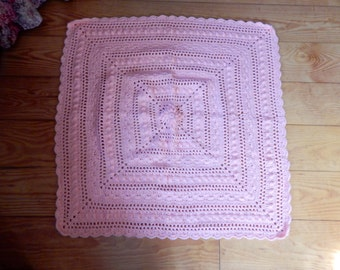 Lace Baby Blanket Light Pink