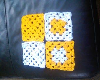 Sunshine yellow crochet granny squares x20