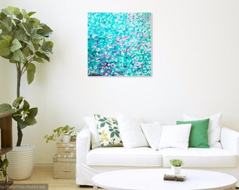 Original Abstract Painting on Canvas - Square - Pastel -Blue- Green - White