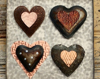 Four-up Industrial Metal Hearts - Heart wall hanging - Hearts - Metal Hearts - Heart