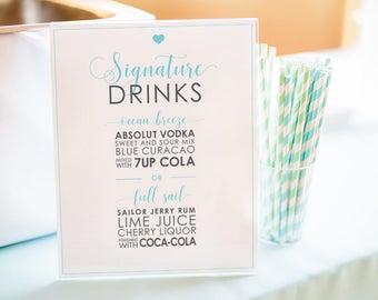 Wedding Signature Drinks Printable - Wedding Drink Menu - 8x10 - Classic Design - Simple & Elegant - Download
