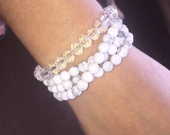 "Beaded ""White Turquiose"" Wrap Bracelet"