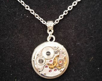 Steampunk Upcycled Necklace Clock Gears