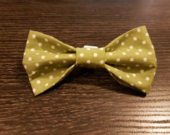Olive green and white polka dot print dog collar bow tie
