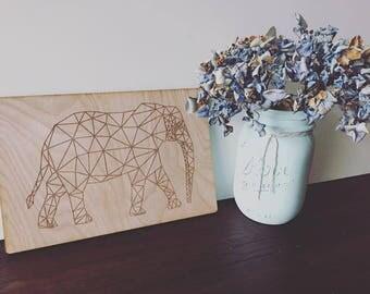 Geometric Elephant Plaque
