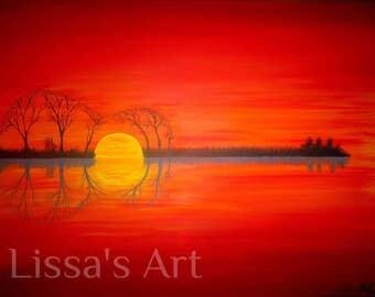 Sunset Guitar 11x17 Print