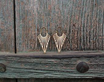 Earrings Brass Geometric Triangle  / Boucles d'oreilles Geometrique triangle